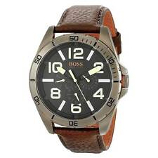 Hugo Boss 1513166 Men's Orange Berlin Black Dial Brown Strap Watch