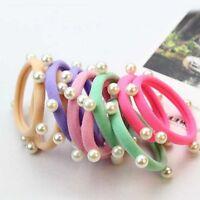 10x Womens Girls Pearl Hair Band Ties Elastic Rope Ring Hairband Ponytail Holder