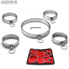 Stainless Steel Metal Neck Collar Wrist & Ankle Cuffs Set 5 Pieces Restraint