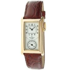 Peugeot Mens 2038G Vintage Contoured Dial Brown Leather Doctors Gold tone Watch