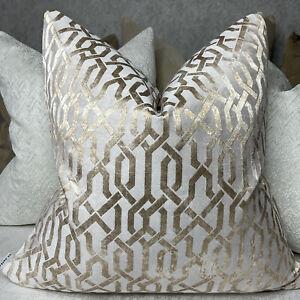 "Luxury Cushion Cover 18"" Geo Designer Fabric Geometric Gold Champagne Decor"