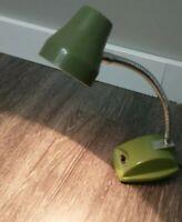Avocado Green Vtg 70s Desk Lamp Light Gooseneck  Flex adjustable Works mountable