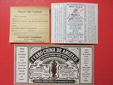 3+OLD & ORIGINAL PROHIBITION-NARCOTIC & MEDICINAL  MEDICINE LABELS
