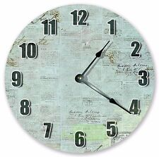 """10.5"""" OLD PAPERS AND STAMPS CLOCK Large 10.5"""" Wall Clock Home Décor Clock - 3097"""
