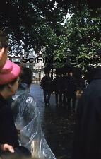 KODACHROME 35mm Slide England Changing Of The Guard People Rain Fashion 1958!!!