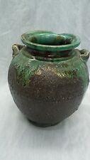 Fine vintage Japanese art pottery green brown glaze  vase signed
