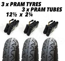 "3x Pram Tyres & Bent Valve Tubes DURO 12"" 12-1/2x2-1/4"" 30cm Slick Tyre BLACK"