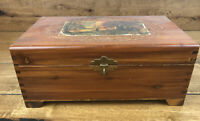 Vintage Wood Jewelry Glove Box Dovetailed With Mirror