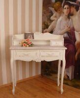 Landhaus vintage Sekretär altweiss Holz Bürotisch shabby Schreibtisch Schubladen