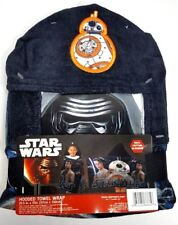 "Star Wars Black Hooded Towel Wrap 22.5"" x 51"" 100% Cotton"