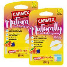2 x Carmex NATURALLY Berry Lip Balm Natural Hydrating Moisturising Stick 4.25g