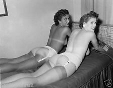 1960s 2 Nudes lying side by side in Garter stockings  8 x 10 Photograph