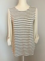 Ann Taylor Loft Womens Top Blouse Size XS Ivory Gray Striped Scoop Neck
