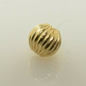 Corrugated Bead 14k Solid Yellow Gold 4mm 5mm 6mm 8mm