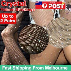 Women Sexy Crystal Rhinestone Fishnet Net Mesh Socks Stockings Tights Pantyhose