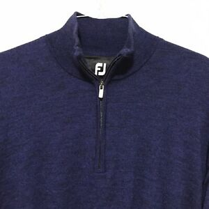 FootJoy FJ Mens Medium Blue Heather Wool 1/4 Zip Pullover Sweater W/ Logo Lined