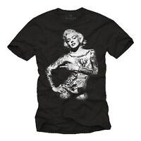 Rockabilly Tattoo Herren T-Shirt für Biker mit sexy Pin Up Girl Marilyn Monroe