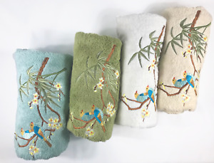 High End Embroidered Turkish Cotton Towel - Songbird Design - Multiple Colors