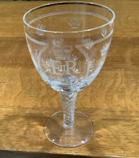 Etched Glass Goblet with Air Twist Stem 1953 Queen Elizabeth II Coronation