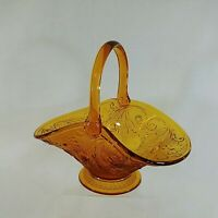 Depression Glass Fruit Basket Handled Amber Yellow Floral Scroll Work