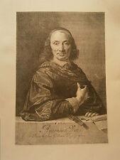 Planche gravure  Moyen age Portrait de A de Vitré d'aprés P.de Chamapagne Morin