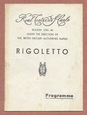 Rigoletto, San Carlo Naples 1945, Tagliabue, Roselli, Infantino  Rapalo    JX155