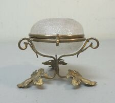 19th C. FRENCH CRAQUELLE / OVERSHOT ART GLASS JEWELRY BOX, BRONZE STAND