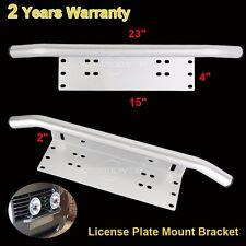 """Bull Bar Front Bumper License Plate Mount Bracket Holder LED Light 23"""" Silver"""
