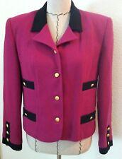8 women purple blazer Vintage 90's gold button up pocket black trim size 8