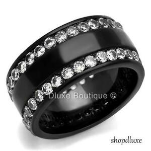 WOMEN'S ROUND CUT CZ BLACK STAINLESS STEEL ETERNITY FASHION RING BAND SIZE 5-10