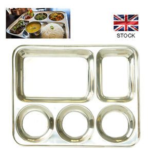 5 Compartment Stainless Steel Food Tray Dinner Plate Indian Style Thali