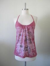 NEW Pink & White Burn Out Floral Girl Print Camisole Racer Back Top S