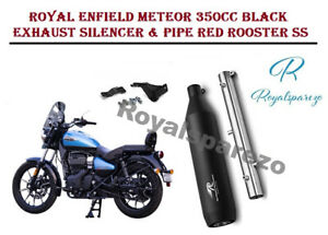Royal Enfield Meteor 350ccBlack Exhaust Silencer & Pipe Red Rooster SS