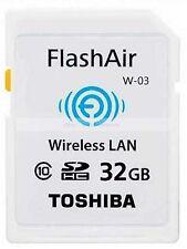Toshiba 32GB SDHC FlashAir Wifi Class 10 Wireless Memory Card  32 G GB SD HC