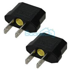 2Pcs EU Euro Europe to US USA Power Jack Wall Plug Converter Travel Adapter