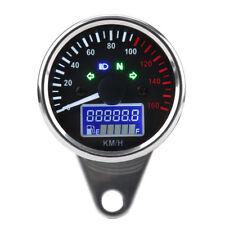Chrome Universal Motorcycle LED LCD Speedometer Odometer Tachometer Gauge KMH