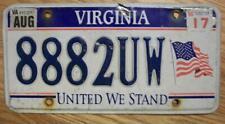 SINGLE VIRGINIA LICENSE PLATE - 2017 - 8882UW - UNITED WE STAND