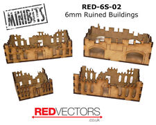 RED-6S-02 - 6mm Wargames - Sci-Fi Ruined Buildings (4 buildings)