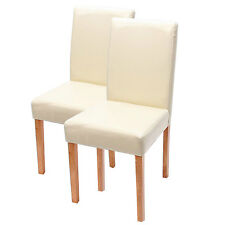Lot de 2 chaises de salle à manger Littau, cuir, crème, pieds clairs