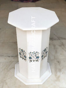 """29""""H 15"""" Dia White Marble Table Top Stand Paua Shell Floral Inlaid Work E574"""