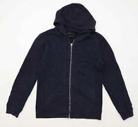 Zara Womens Size L Cotton Blend Blue Zip Up Hoodie (Regular)