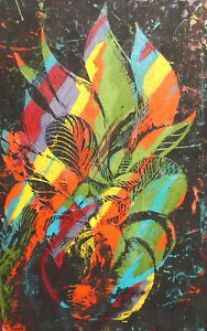 Vintage abstract modernist pastel painting still life with flowers