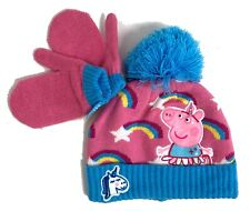 Young Girls Rainbow Bobble Hat & Mittens Set Peppa Pig 1-3 Years
