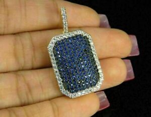 3 Ct Round Blue Sapphire Diamond Pendant Necklace With Chain 14k Yellow Gold Fn