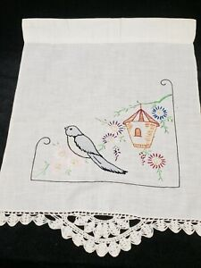 Vintage Hanging Panel Cotton Fabric Tinted & Embroidered Bluebird 1930s Era