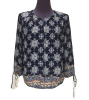 Lucky Brand Women's Size XS 3/4 Sleeve Shirt Top Peasant Blue Purple Blouse BOHO