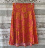 LULAROE Azure Floral Skirt Sz MEDIUM Bright Pink Gold Sunflowers Stretch Knit