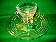 "Vintage Mid-Century Clear Glass 9"" Round Snack Set"