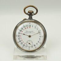Rare 24 Stunden Gunmetal Taschenuhr Antike Herren Uhr pocket watch spindel uhren