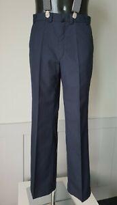Vintage 60s/70s Straight Leg Trousers in Blue Pinstripe Wool Blend W32 L31 TM08